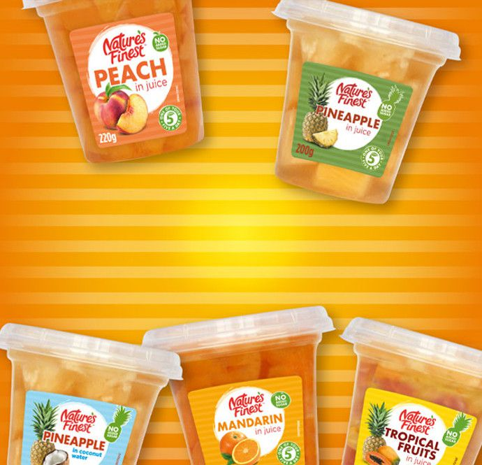 Fruit pots for adult snacking.