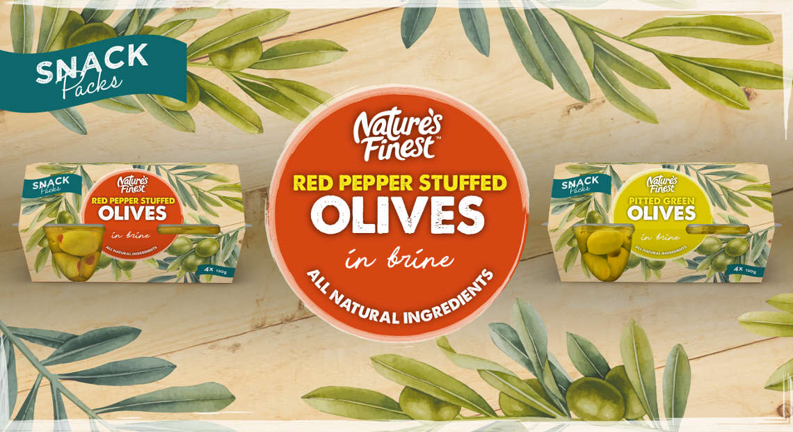 Nature's Finest red pepper stuffed olives and pitted green olives..