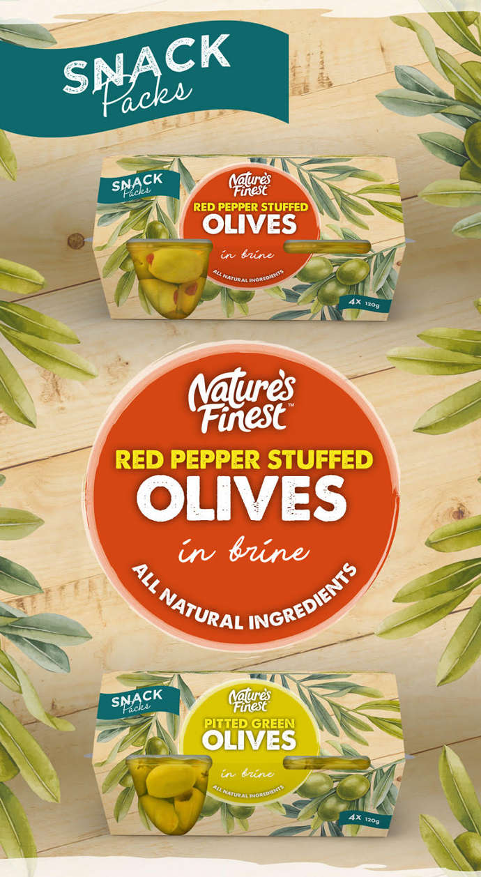 Nature's Finest red pepper stuffed olives and pitted green olives.
