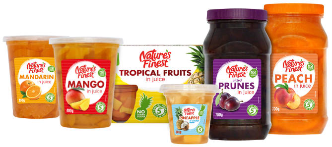 Range of fruit products. 200g. 400g. 700g. And multipacks.
