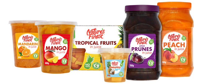 Range of fruit products.